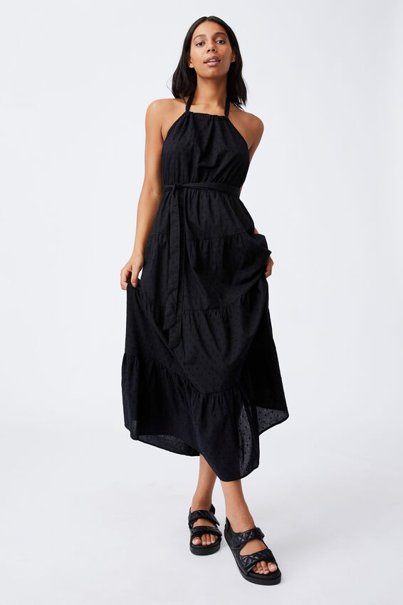 Woven Daisy Halter Neck Maxi Dress, BLACK