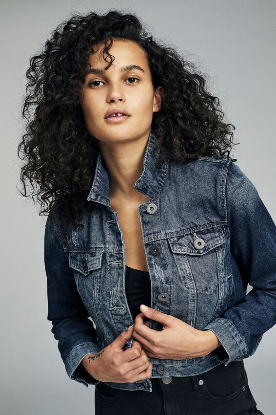 Girlfriend Denim Jacket, NEW BRIGHT VINTAGE