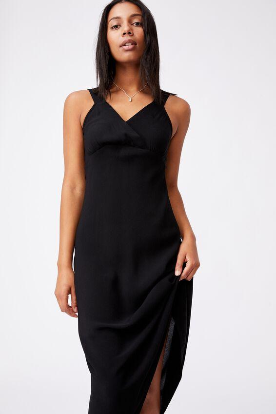Woven Marcy Strappy Maxi Dress, BLACK
