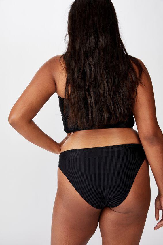 Curve High Side Brazilian Bikini Bottom, BLACK RIB