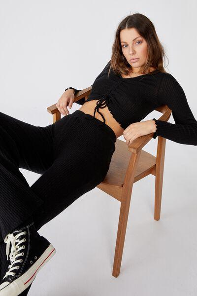 Gigi Wide Leg Pant, BLACK