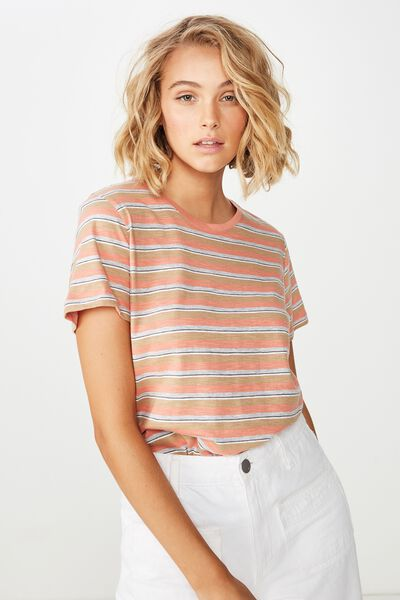 The Crew T Shirt, KYLIE STRIPE TERRACOTTA