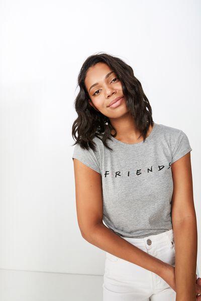 Essential Friends T Shirt, LCN WB FRIENDS LOGO/GREY MARLE