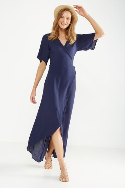 Woven Lucy Wrap Maxi Dress, MIDNIGHT OCEAN