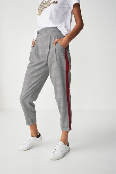 Kali Drapey Pant, RED AND BLACK CHECK WITH RED SIDE PANEL
