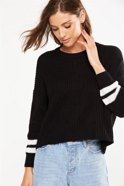 Archy Cropped Pullover, BLACK/WHITE ARM BANDS