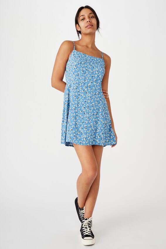 Woven Kendall Mini Dress, CHLOE DAISY PARISIAN BLUE