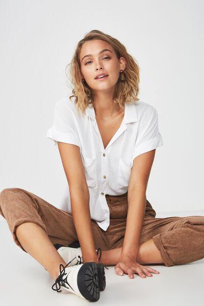 Emily Chopped Short Sleeve Shirt, WHITE Y
