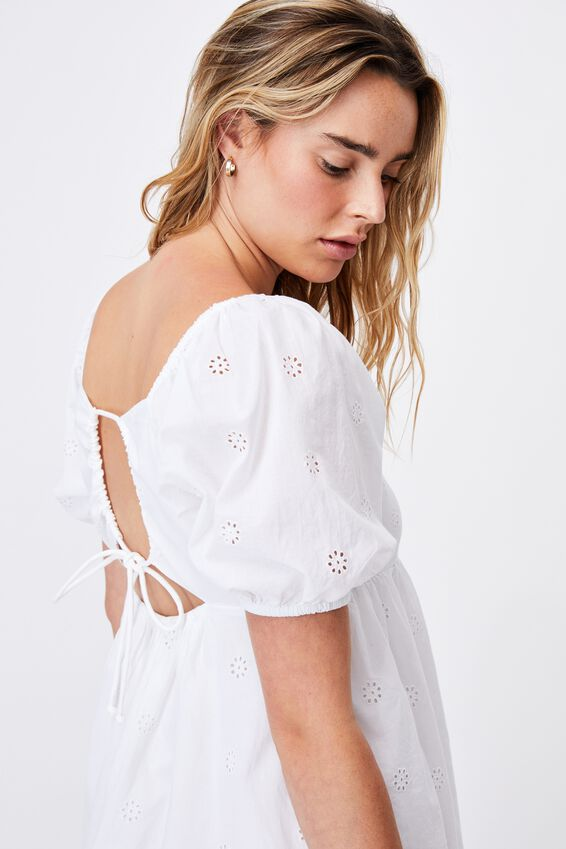 Woven Patty Embroidery Open Back Tea Dress, WHITE EMBROIDERY