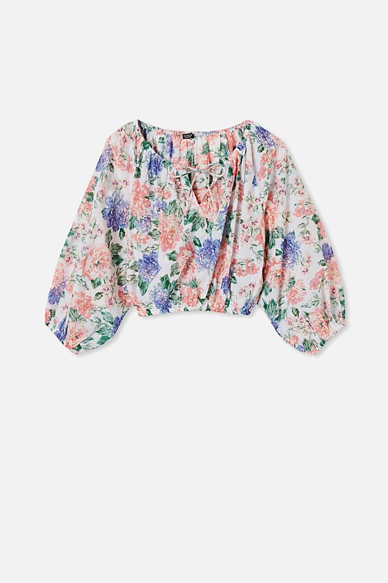 Float On Blouse, KEILY FLORAL WHITE