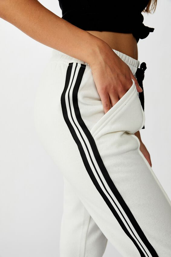 Slim Fit Trackpant, GARDENIA PIN TUCK BLACK SIDE STRIPE