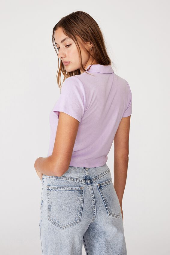 Amy Polo Short Sleeve Tee, POWDER LILAC