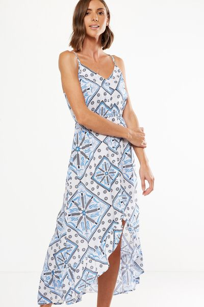 Woven Katrina Button Through Hi Low Maxi Dress, SIENNA SCARF SMALL BRIGHT WHITE