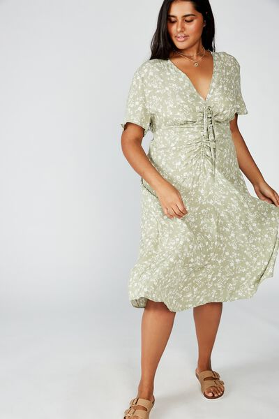 Curve Woven Marissa Gathered Front Midi Dress, INDI FLORAL TEA
