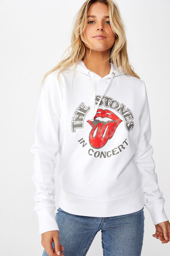 Demi Graphic Hoodie, LCN BR ROLLING STONES IN CONCERT/WHITE