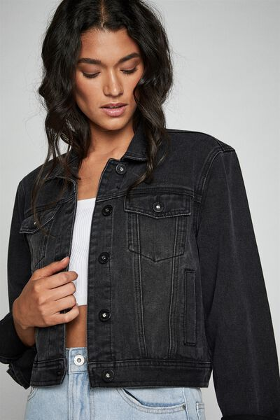 Girlfriend Denim Jacket, VINTAGE BLACK
