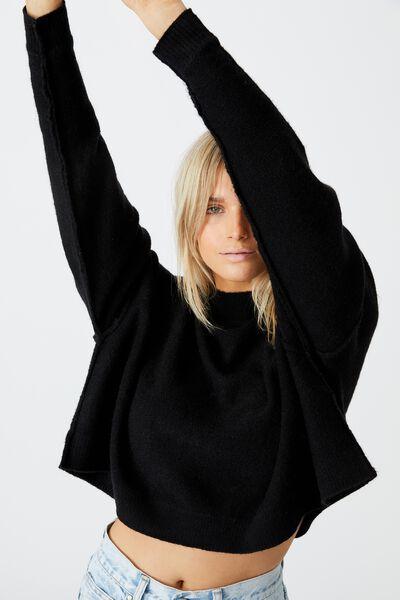 Luxe Fine Gauge Mock Neck Pullover, BLACK