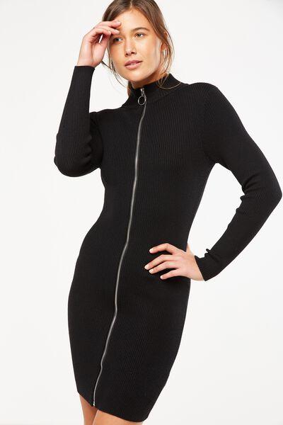 Linden Long Sleeve Zip Through Bodycon, BLACK