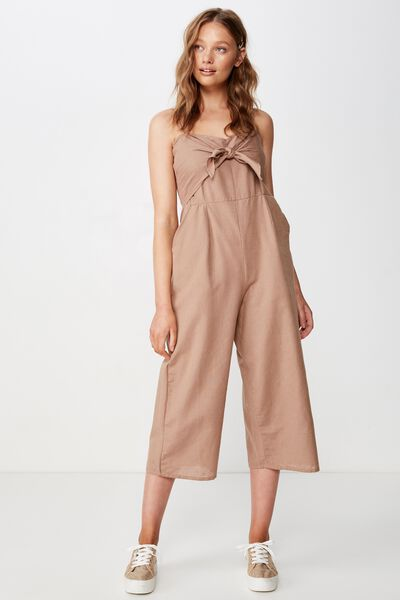 Woven Tabatha Tie Front Culotte Jumpsuit, BROWNIE