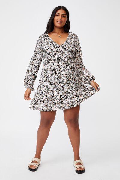 Curve Ashley Long Sleeve Mini Dress, DIANE FLORAL BLACK