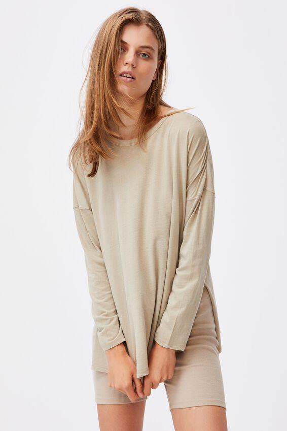 Oversized Side Split Long Sleeve Top, WASHED FLAX GREY