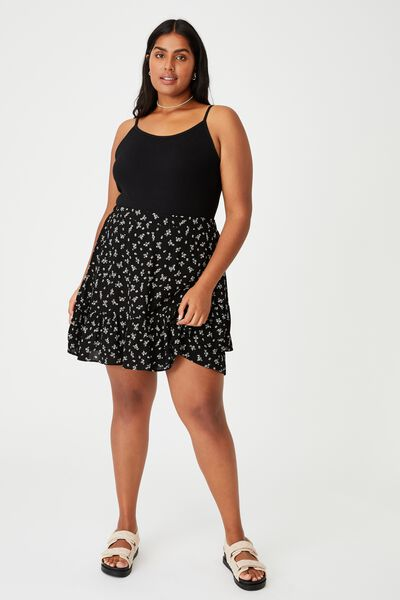 Curve Asymmetric Frill Mini Skirt, RIDDLE DITSY BLACK
