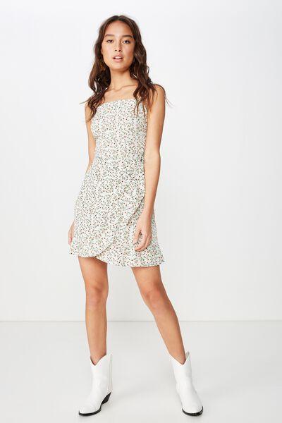 Woven Kiki Summer Mini Dress, ERIN DITSY FLORAL MIST GREEN