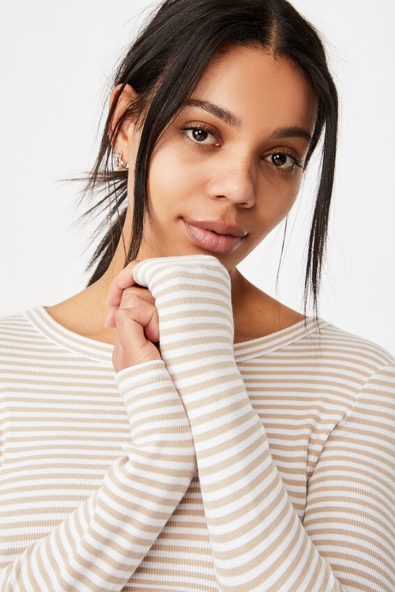 The Turn Back Long Sleeve Top, SOPHIE STRIPE LATTE/WHITE