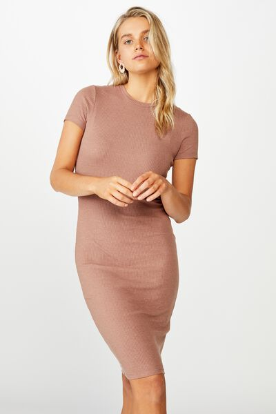 Essential Short Sleeve Bodycon Midi Dress, ACORN MARLE RIB