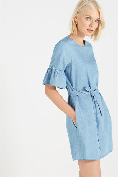Woven Felicia Frill Sleeve Dress, CHAMBRAY