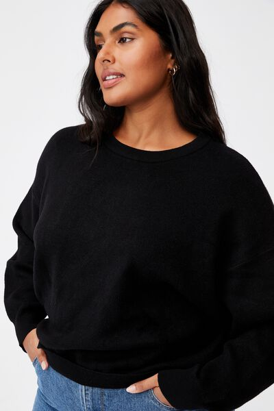 Curve Chloe Luxe Pullover, BLACK