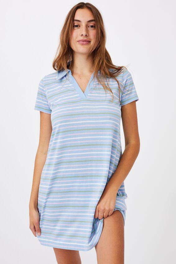 Tina Polo Tshirt Dress, SAMARA STRIPE POOLSIDE BLUE MULTI
