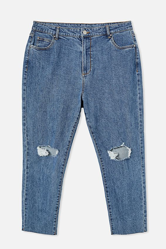 Curve Taylor Mom Jean, MID BLUE RIPS