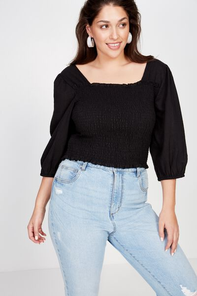Curve Puff Sleeve Shirred Top, BLACK