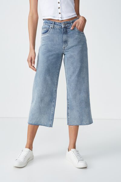 High Rise Wide Leg Crop Jean, VINTAGE BLUE