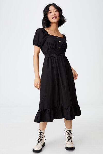 Woven Petite Everly Short Sleeve Midi Corset Dress, BLACK