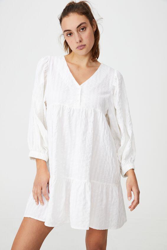 Woven Zerha Long Sleeve Smock Mini Dress, WHITE