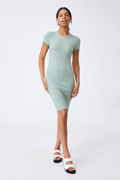 Essential Short Sleeve Midi Dress, HORIZON BLUE