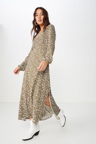 Woven Ivy Sleeved Maxi Dress, HAVANA DITSY BEECH