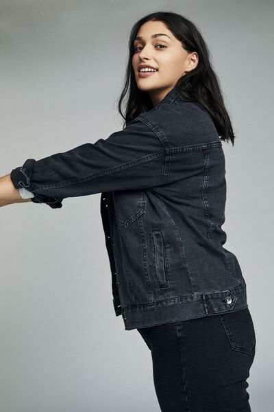 Curve Boyfriend Denim Jacket, WASHED BLACK