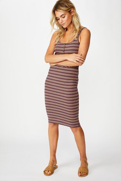 Kaylee Bodycon Midi Dress, ASHLEY STRIPE ECLIPSE RIB