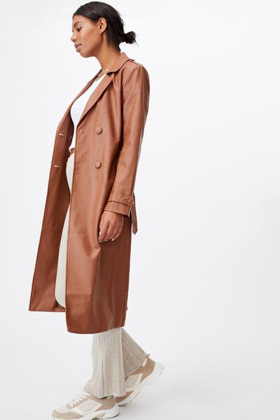 Vegan Leather Trench, TAN