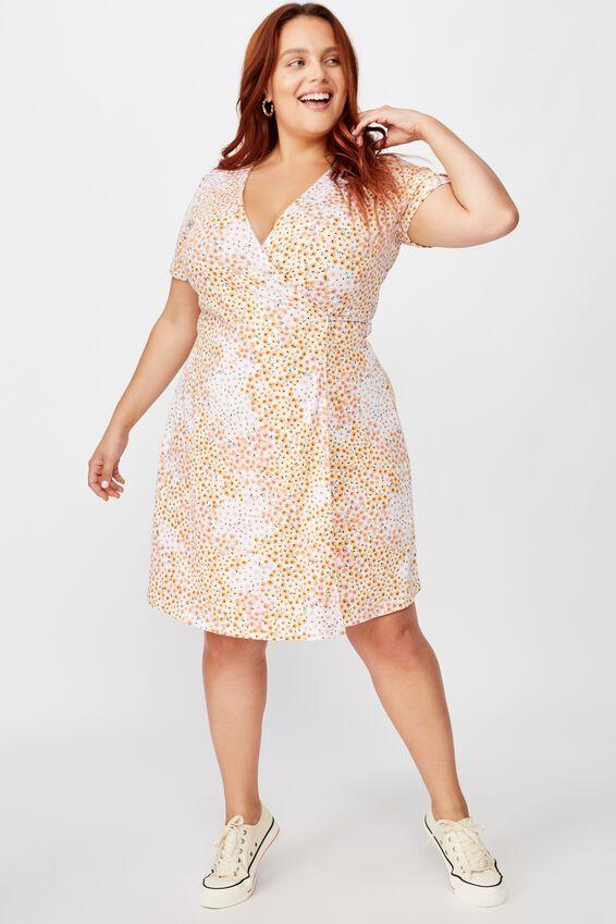 Curve Sasha Short Sleeve Wrap Dress, MANDY MULTI DITSY GARDENIA