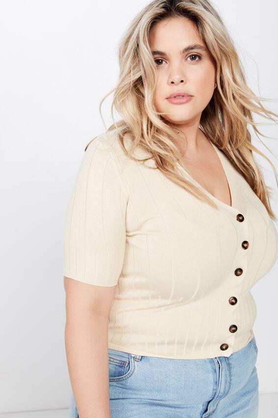 Curve Quinnie Half Sleeve Button Through Cardi, BLEACH SAND