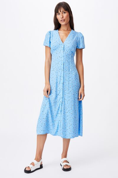 Woven Indi Short Sleeve Vneck Button Through Midi, RIDDLE DITSY COLLEGIATE BLUE