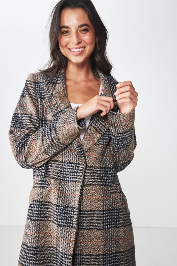 New Mid Length Coat, BROWN CHECK