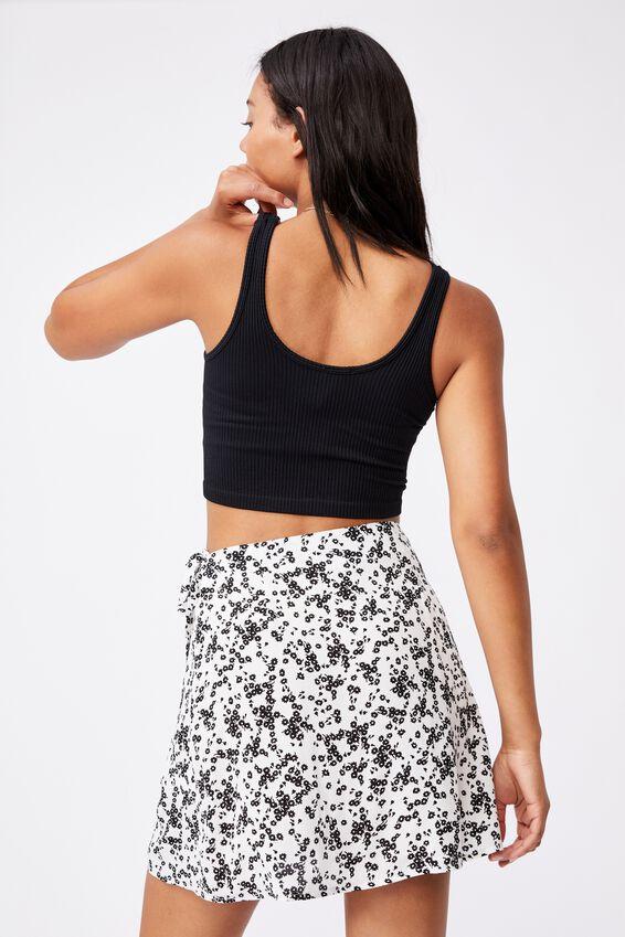Drew Wrap Mini Skirt, LENA DITSY WHITE