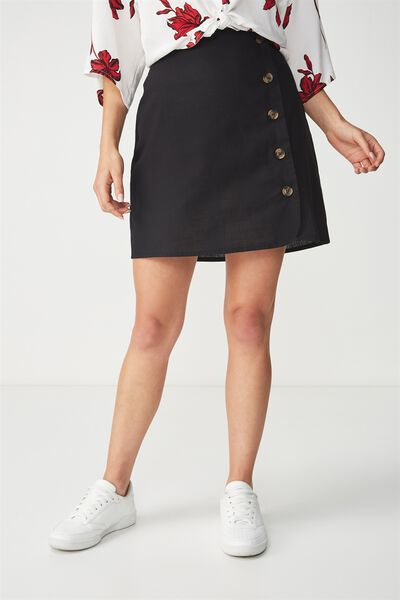 Woven Mini Military Skirt, BLACK