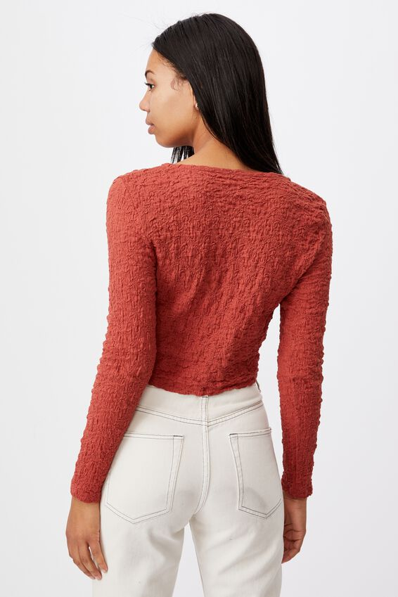 River Long Sleeve Cardi, RED TERACOTTA