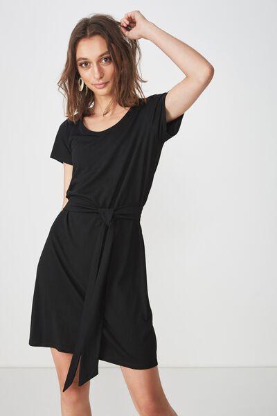 Bella Tie Front T-Shirt Dress, BLACK